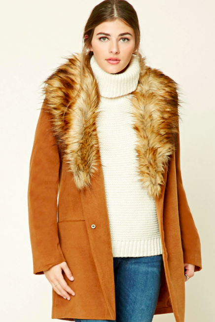 FOREVER 21 COAT WITH FUR